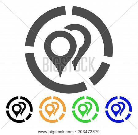 Geotargeting Diagram icon. Vector illustration style is a flat iconic geotargeting diagram symbol with black, gray, green, blue, yellow color variants. Designed for web and software interfaces.
