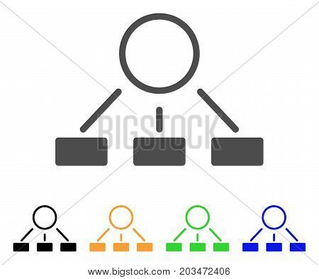 Hierarchy icon. Vector illustration style is a flat iconic hierarchy symbol with black, grey, green, blue, yellow color versions. Designed for web and software interfaces.