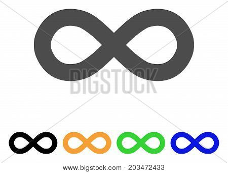 Infinity icon. Vector illustration style is a flat iconic infinity symbol with black, grey, green, blue, yellow color versions. Designed for web and software interfaces.