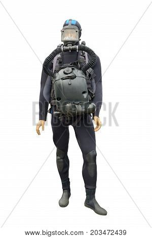 Wetsuit for spearfishing.It insulates the body of a hunter from the water.