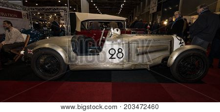 MAASTRICHT NETHERLANDS - JANUARY 09 2015: Sports car Rover 14 Speed Sport nickname Wreath Special 1935. International Exhibition InterClassics & Topmobiel 2015