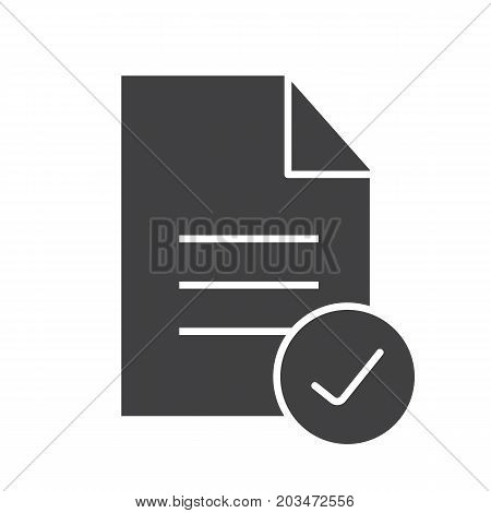 Approved document glyph icon. Silhouette symbol. Document with tick mark. Negative space. Vector isolated illustration