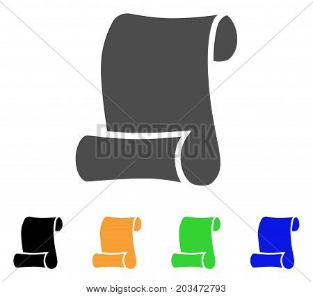 Paper Roll icon. Vector illustration style is a flat iconic paper roll symbol with black, gray, green, blue, yellow color versions. Designed for web and software interfaces.