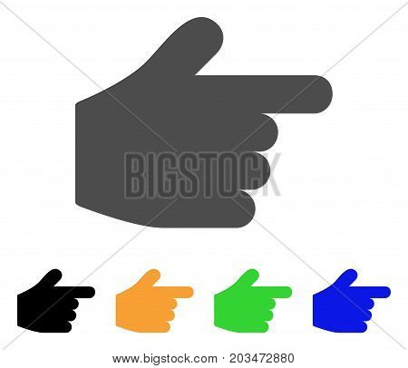 Pointer Finger icon. Vector illustration style is a flat iconic pointer finger symbol with black, gray, green, blue, yellow color versions. Designed for web and software interfaces.