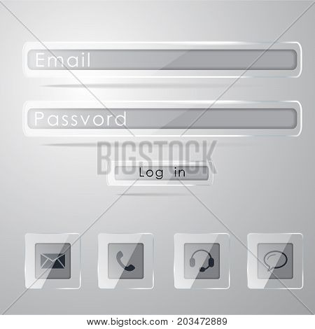 Password and email blank forms and arrow cursor at login screen on the web site. four contact buttons in flat style isolated on white background, vector illustration, eps 10, with transparency.
