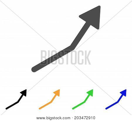 Positive Trend Arrow icon. Vector illustration style is a flat iconic positive trend arrow symbol with black, grey, green, blue, yellow color variants. Designed for web and software interfaces.