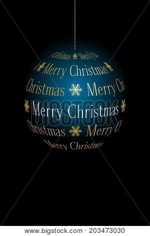 abstract christmas ball created from text Merry Christmas on dark background vector holiday illustration suitable for greeting card with place for text