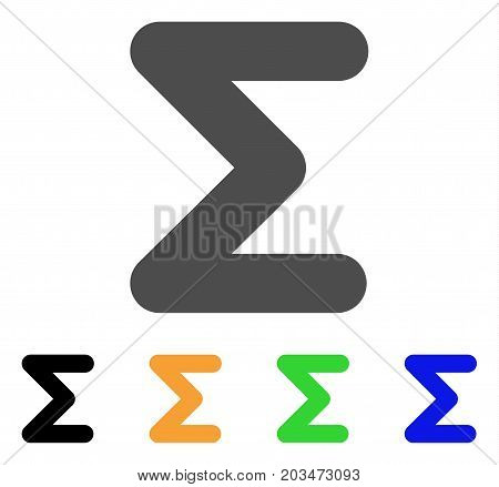 Sum icon. Vector illustration style is a flat iconic sum symbol with black, gray, green, blue, yellow color variants. Designed for web and software interfaces.