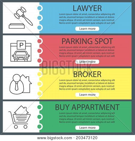 Real estate web banner templates set. Gavel, parking place, broker, shopping cart with house. Website color menu items with linear icons. Vector headers design concepts