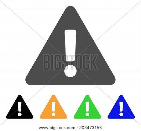 Warning icon. Vector illustration style is a flat iconic warning symbol with black, grey, green, blue, yellow color variants. Designed for web and software interfaces.