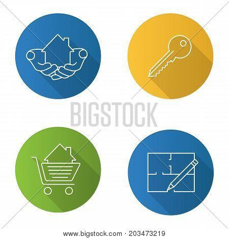 Real estate market. Flat linear long shadow icons set. House in hands, floor plan, key, shopping cart with building inside. Vector outline illustration