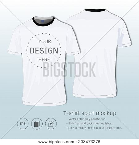 T-shirt sport design for football club, Front and back view soccer jersey uniform, Sport slim fit shirts apparel mock up, vector Illustration eps 10, Easy to modify photo file to add logo to shirt.