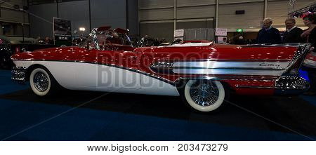MAASTRICHT NETHERLANDS - JANUARY 09 2015: A full-size car Buick Century Riviera convertible 1958. International Exhibition InterClassics & Topmobiel 2015