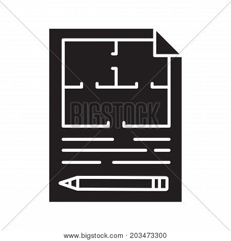 Floor plan, flat blueprint with pencil glyph icon. Apartment layout silhouette symbol. House engineering. Building business. Property development. Negative space. Vector isolated illustration