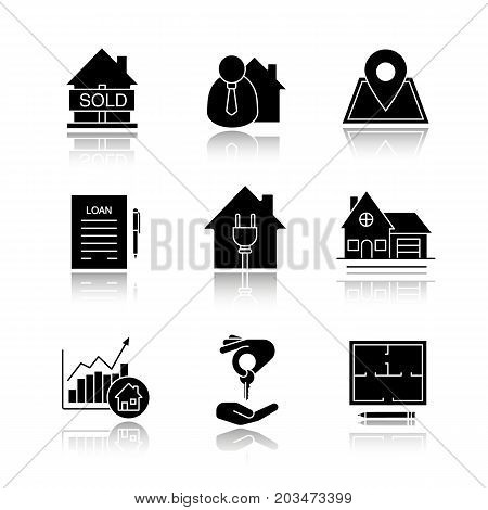 Real estate market. Drop shadow black glyph icons set. Sold house, broker, loan, agreement, cottage, floor plan, house for sale, chart. Isolated vector illustrations