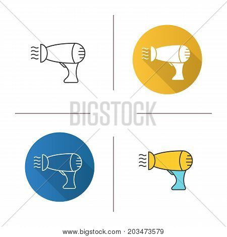 Hair dryer icon. Flat design, linear and color styles. Blowdryer. Isolated vector illustrations