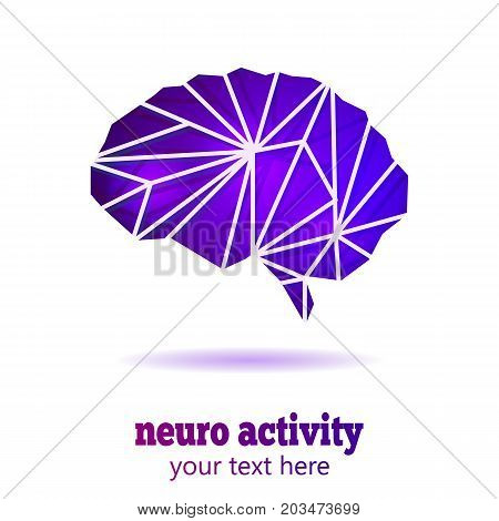 Abstract Human Brain Medical Logo. Neurology Anatomical Conception. Cerebral Geometric Brain on white background with text Neuro Activity.