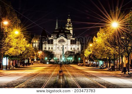 Main square with plague column national theatre and St. Elisabeth cathedral in Kosice Slovak republic. Night scene. Travel destination.