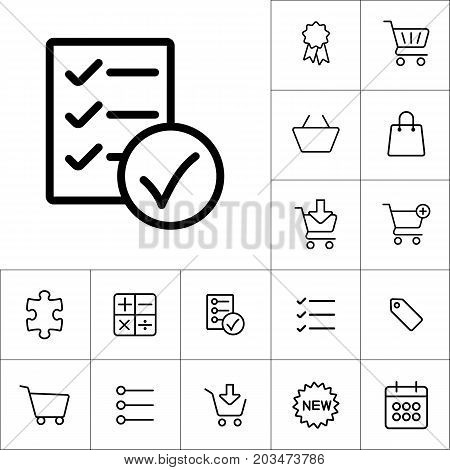 Thin Line Checklist, Report Icon On White Background, Shopping I