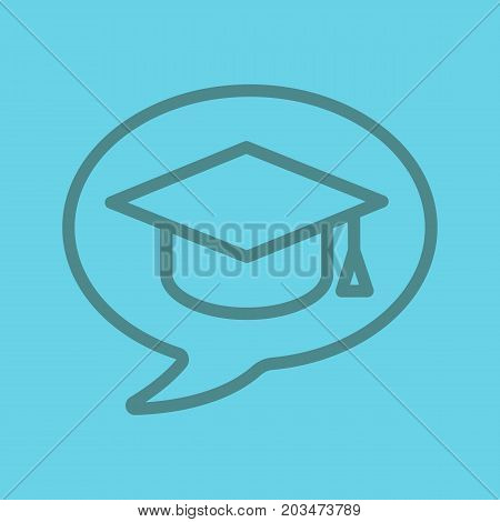 Conversation about studying linear icon. Chat box with student's graduation cap. Thin line outline symbols on color background. Vector illustration