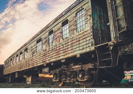 Abandoned rusty old car on rails.  old, train, abandon,