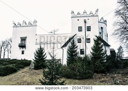 Beautiful chateau Strazky Slovak republic. Cultural heritage. Architectural theme. Cold photo filter.