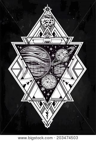 Decorative planets in solar system triangle composition with sacred geometry. Science template in boho style. Dotwork celestial art. Occult, magic, esoteric, tattoo art. Isolated vector illustration.