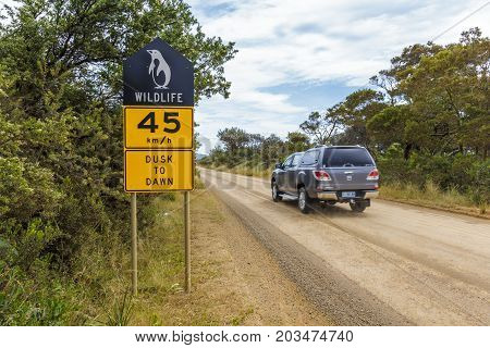The neck Bruny Island Australia - December 19 2016: Wildlife protection sign