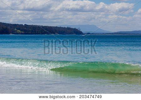 Adventure Bay Bruny islandwith Mount wellington in background