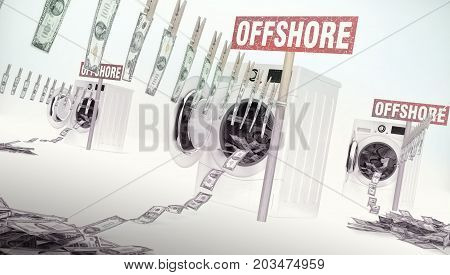 Concept of money laundering money hanging on a rope coming out of the washing machines money jump into the washing machines. Offshore - business idea with text. 3D illustration