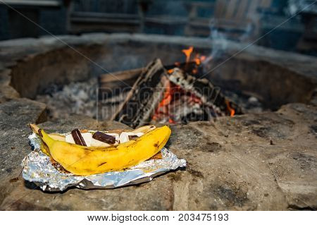 Campfire Banana Smores prepared by the fire pit.