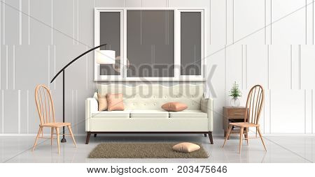 White room decorated with cream sofa tree in glass vase, orange pillows, Blue book, Wood bedside table, lamp ,Wood chair, window,White cement wall it is pattern, white cement floor. 3d rendering.