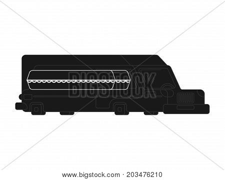 Hearse And Coffin Cartoon Style. Funeral Car Vector Illustration
