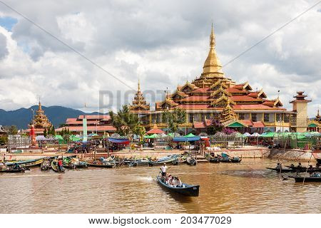 Ywama Myanmar - 2017 January 5 : The Phaung Daw Oo Pagoda a religious site in the village of Ywama on the west side of the Inle Lake in the Shan state of central Myanmar