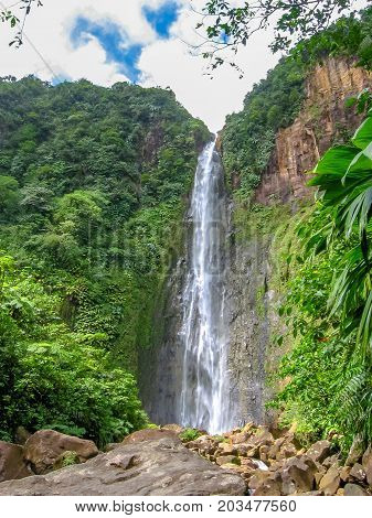 The second of three Carbet Falls, a series of waterfalls on the Carbet River in Basse-Terre in a tropical rainforest on lower slopes of  volcano La Soufriere., Guadeloupe, Caribbean.