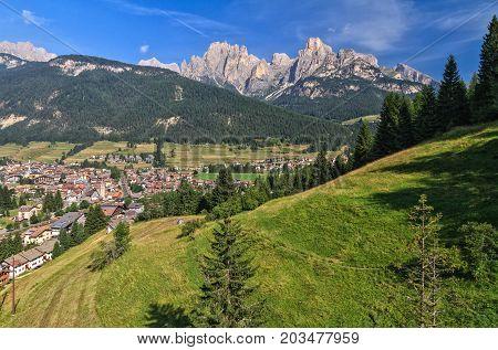 summer view of Val di Fassa with Pozza village Trentino Italy