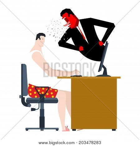 Angry Boss Screams At Freelancer. Monitoring Of Remote Work. Vector Illustration
