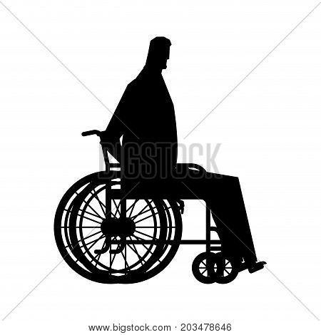 Businessman In Wheelchair. Boss Is Disabled. Medicine Vector Illustration