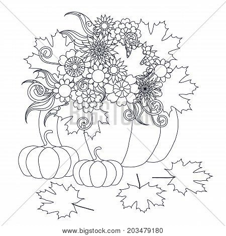 Monochrome doodle hand drawn pumpkins with flowers. Anti stress stock vector illustration