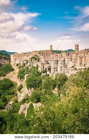 Panorama of Sorano a town built on a tuff rock one of the most beautiful villages in Italy.