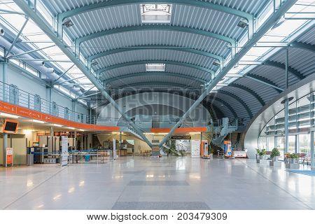 Karlovy Vary Czech Republic - September 7 2017. Karlovy Vary airport interior new airport. Czech Republic.