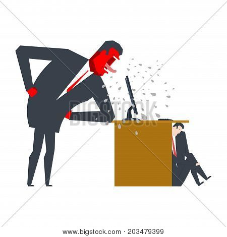Angry Boss Is Scolding Manager. Manager Is Hiding Under Table. Office Life. Businessman Screaming At