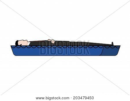 Coffin And Dead Man. Wooden Coffin. Vector Illustration
