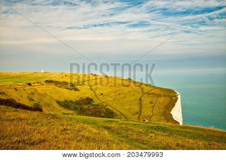 Landscape View Of The White Cliffs At Dover