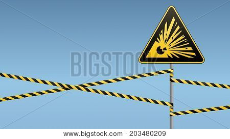 Caution - danger Warning sign safety. Explosive substances. yellow triangle with black image. sign on pole and protecting ribbons. Vector illustration.