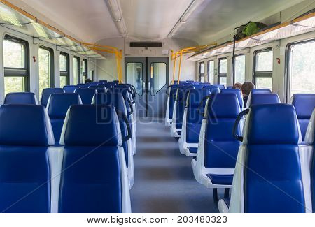Interior of an electric train  rail road car