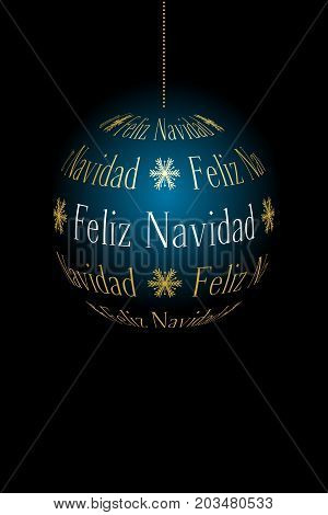 spanish abstract christmas ball created from text Feliz Navidad on dark background vector holiday illustration suitable for greeting card with place for text