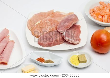 Sauteed Vegetables With Chicken, Pork, Jam And Shrimps Preparation: Raw Ingredients To Prepare Saute