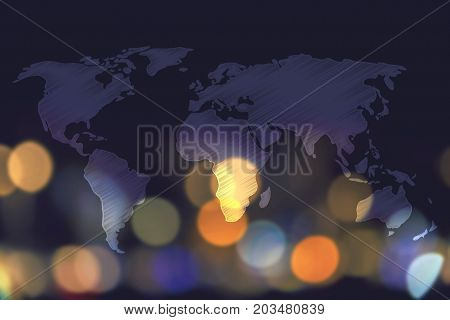 World Map Overlay And Nighttime City Bokeh Background