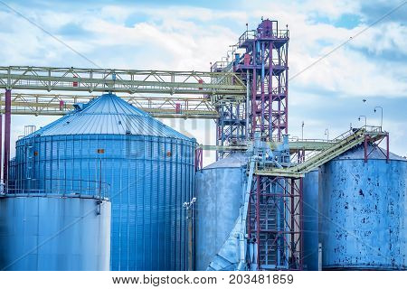 Modern grain elevator and storage in agricultural district